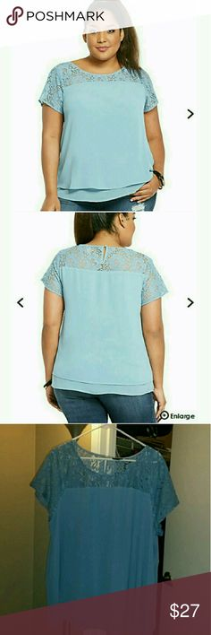 Torrid Lace Inset Chiffon Layered NWOT. Pretty Torrid size 2X top with lace inset/sleeves. NEVER worn. Recently bought for a trip, took off tags and returned from trip without ever wearing it. Attached pics from torrid's website so you can see the true color of blue it is. Thanks for looking!! torrid Tops Blouses