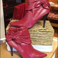 "🎄HP/11/20/VINTGE NWOTS/Anne Michelle Boot 4""Heels 🎄HOST PICK FOR 11/20 HOLIDAY STYLE PARTY/SALE PRICED/NWOTS/ 70's LOOK/VINTAGE/ANNE MICHELLE HI HEEL BOOTIES!  Size 81/2 M never worn these booties have a 4"" heel with side zippers for easy access. They have a pointy toe/ a tie design on the outside!!  Very cute/Give them a new outlook on life/wear them! PERFECT FOR TODAY's BoHo LOOK/REAL VINTAGE /NEW NEVER WORN/ PERFECT GIFT FOR THAT VINTAGE FASHION LOVER! MORE COLORS AVAILABLE/AT TIME…"
