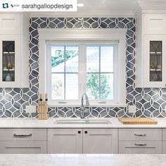 EXAMPLE OF BRINGING BACKSPLASH ALL THE WAY UP - EVEN WITH THIS BIG PATTERN, IT STILL LOOKS BEAUTIFUL ALL THE WAY UP!!!!