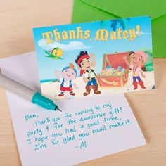 Thank your friends for coming to your awesome pirate party with Jake and the Never Land Pirates thank you cards!
