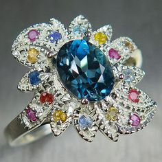 1.7cts Natural Topaz London Blue & sapphires 925 silver 9ct 14k 18k 22k white yellow red Gold Platinum Palladium engagement ring all sizes