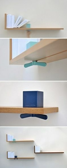 Book shelf with built-in book end. Would be great in a kitchen to display heavy cook books