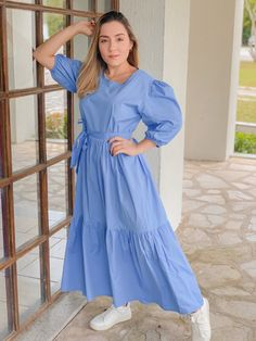 Girls Frock Design, Frocks For Girls, Dresses With Sleeves, Shirt Dress, Jeans, Long Sleeve, Shirts, Blue Gown, Dress Long