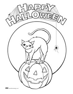 Halloween coloring pages Cat on Broom coloring pages