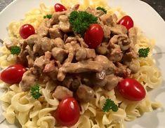Bacon, Spaghetti, Chicken, Ethnic Recipes, Food, Essen, Yemek, Pork Belly, Spaghetti Noodles
