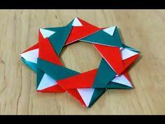 クリスマスリース 折り紙 折り方 難易度★★☆ How to fold origami Christmas wreath - YouTube Paper Christmas Ornaments, Christmas Origami, Christmas Wreaths To Make, Origami Wreath, Origami Easy, Gato Origami, Paper Folding Techniques, Asian Crafts, Origami Paper Folding