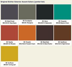 Eichler mid-century exterior accent paint colors. Secret Design Studio knows Mid Century Modern Architecture. www.secretdesignstudio.com