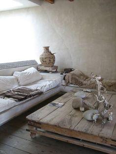 Home Tour - Philip Dixon via Apartment Therapy - white sofa, reclaimed wood table, Moroccan type interior, driftwood Wabi