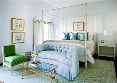 Love this preppy inspired bedroom, green and blue love, great room!