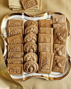 Speculaas cookies made from Springerle molds or rolling pins