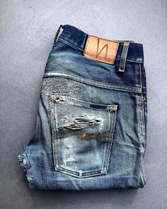 Worn in and repaired! T Shirt Logo Design, Nudie Jeans, Levis, Edwin Jeans, Old Jeans, Raw Denim, Skinny, Vintage Denim, Denim Fashion