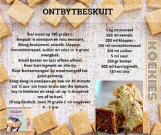 Fun Baking Recipes, Bread Recipes, Cooking Recipes, Rusk Recipe, South African Recipes, Savory Snacks, Biscuit Recipe, Bread Baking, Sweet Treats
