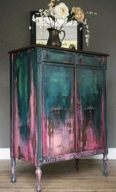 teal and pink antique closet, # teal . - teal and pink antique cabinet, # teal - Funky Furniture, Paint Furniture, Upcycled Furniture, Furniture Projects, Furniture Makeover, Rustic Furniture, Garden Furniture, Bohemian Furniture, Simple Furniture