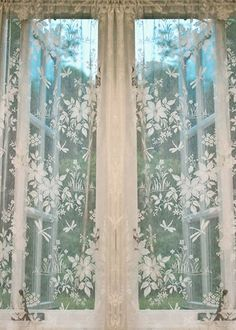 Dragonfly Nottingham Lace Curtain & Yardage direct from London Lace: London Lace we specializing in the finest Scottish and Madras lace curtains and products like Dragonfly Nottingham Lace Curtain & Yardage.