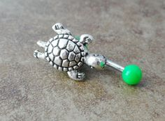 Green Turtle Belly Button Ring Jewelry by CuteBellyRings on Etsy, $14.00