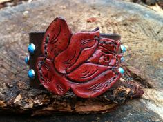 Unique oneofakind tooled leather rose by dirtynameranch on Etsy, $24.00