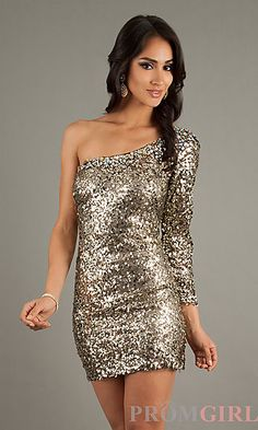 Short Sequin One Sleeve Dress at PromGirl.com