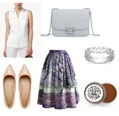 Purple printed skirt, white collar shirt, silver ring, nude flats, neutral lip, grey bag