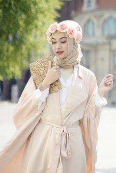 Soft Pastels with Flower Crown Hijab