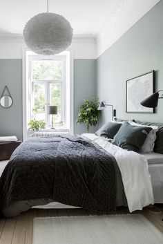 Gray and Sage Green Bedroom. Gray and Sage Green Bedroom. Gray and Sage Green Bedroom Gray and Sage Green Bedroom Home Decor Bedroom, Modern Bedroom, Sage Green Bedroom, Bedroom Inspirations, Bedroom Interior, Gray Bedroom, Blue Bedroom, Simple Bedroom, Bedroom Green