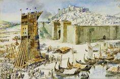 """A 14 de Maio de 1147, a cidade de Lisboa é tomada aos Mouros por D. Afonso Henriques (1109-1185), auxiliado por cruzados. O CERCO DE LISBOA – Aguarela de  Alfredo Roque Gameiro (1864–1935), publicada na obra """"Quadros das História de Portugal"""" (1917)."""