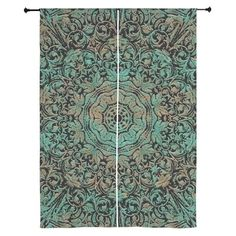 Vintage Floral Copper Patina Curtains on CafePress.com