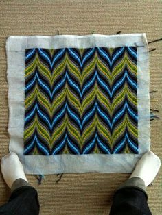 Troy got crafty -- made a bargello pillow just by looking at the pattern in the book. BARGELLO is THE BEST for pillows for midcentury houses. Listen to me on this one!