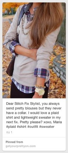 I would love to have this plaid shirt with a lightweight sweater. Prefect for this MO weather! C