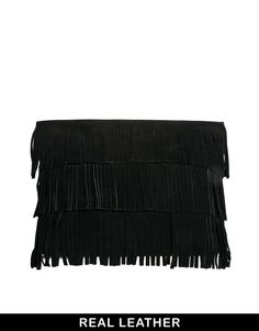 ASOS Suede Heavy Fringe Clutch Bag