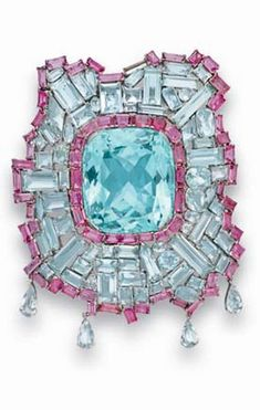 [Brooch Only} A SET OF AQUAMARINE AND PINK TOURMALINE JEWELRY  Comprising a brooch, set with a cushion-cut aquamarine, within a vari-cut aquamarine and baguette-cut pink tourmaline undulating frame, suspending pear-shaped aquamarines; and a ring en suite, mounted in platinum, circa 1940 Brooch signed Schlumberger