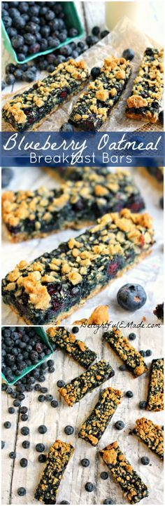 Blueberry Oatmeal Breakfast Bars http://delightfulemade.com/2014/08/20/blueberry-oatmeal-breakfast-bars/ Fresh, juicy blueberries are paired with a sweet brown sugar oatmeal crust to make a seriously delicious breakfast bar! #blueberry #oatmeal #breakfast #bar #snack