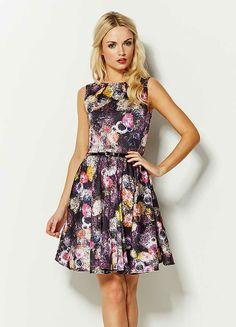 Closet Navy Belted Floral Print Circle Skirt Dress