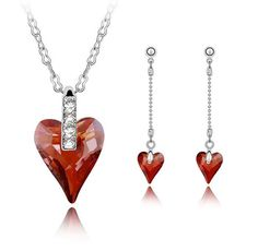 Austrian Crystal Jewelry Sets earring necklace Zinc Alloy with Austrian Crystal Heart platinum plated lead cadmium free Approx Inc,china wholesale jewelry beads