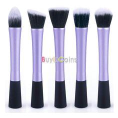 5 Types Powder Blush Foundation Contour Makeup Brush Set Cosmetic Tool Purple -- BuyinCoins.com