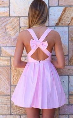 Light Pink Bow Back Sleeveless Dress, Dress, baby pink bow vneck pleated, Chic Bow Back Dresses, Pretty Dresses, Beautiful Dresses, Vestido Dress, Dress Skirt, Skater Dress, Summer Outfits, Cute Outfits, Summer Dresses