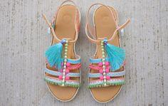 gladiator genuine leather greek sandals pom poms Greek Sandals, Gladiator Sandals, Pom Poms, Boho Style, Boho Fashion, Leather, Shoes, Bohemian Fashion, Zapatos