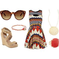 With a calendar full, it's essential to have the perfect daytime party look. Mix and match accessories with a tribal printed dress and top it all off with summer wedges and tortoise shell sunnies.  Shop the jewelry at chloeandisabel.com/boutique/meghanmeister.    #bling #jewels #tribal #dresses #wedges #coral