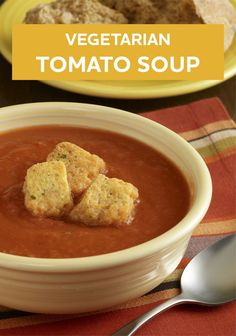 Nothing says fall like a delicious soup recipe! Try this Vegetarian Tomato Soup for dinner tonight.