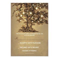 Twinkle Lights Tree Rustic Wedding RSVP card
