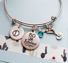 50th Birthday Bracelet, 50th Birthday Bracelet, Fifty and Fabulous, Personalized Bracelet, Silver Birthday Bangle, Birthday Jewelry, Silver