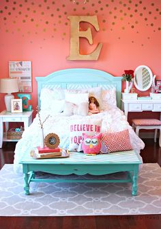 Tattered and Inked: Coral Aqua Girls Room Makeover