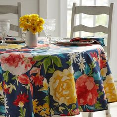 The Pioneer Woman Fiona Floral Tablecloth, 70 inch Round, Multiple Sizes Available, Multi-Color The Pioneer Woman, Pioneer Woman Dishes, Pioneer Woman Kitchen, Pioneer Women, Floral Tablecloth, Vinyl Tablecloth, Round Tablecloth, Mesa Floral, Table Linens
