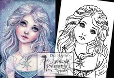 Digital Stamp, Printable, Instant download, Digi stamp, Coloring page, Art of Janna Prosvirina by Jannafairyart on Etsy Fairy Art, Digi Stamps, Coloring Pages, Clip Art, Printables, Digital, Unique Jewelry, Handmade Gifts, Punch Needle