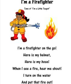 """I have a series of community helper lesson plans called """"My Friend, the…"""" They all focus on a different occupation. This week we did the firefighter! Books: Curious George and the Firefighters by … - Education Preschool Songs, Preschool Lessons, Preschool Prep, Preschool Themes, Preschool Classroom, Classroom Activities, Community Helpers Lesson Plan, Community Helpers Crafts, Fire Safety Week"""