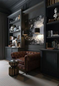 Contemporary Home Office Design Ideas - Browse pictures of contemporary office. Discover motivation for your trendy home office design with ideas for decoration, storage and also furniture. Home Office Design, Home Office Decor, Home Interior Design, House Design, Office Designs, Office Ideas, Masculine Office Decor, Masculine Living Rooms, Masculine Room