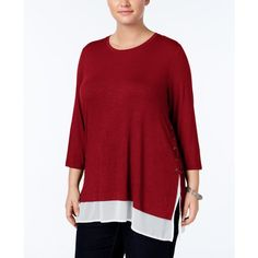 Style & Co. Plus Size Lace-Up Layered-Look Top, ($33) ❤ liked on Polyvore featuring tops, new red amore, style&co tops, red chiffon top, plus size layering tops, lace up front top and womens plus tops