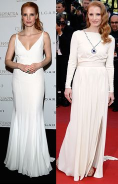 "Jessica Chastain opted for long & white at Cannes 2013 twice: Givenchy and Versace. Notice the powerful sapphire necklace?  Straight out of Bulgari's collection of Elizabeth Taylor gems it was a beautiful tribute to the 2013 Cannes premiere of the restored version of ""Cleopatra""."