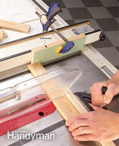 Top 10 Woodworking Tips-When crosscutting on a table sawl,set the cut length with a block clamped to the fence. Don't ever use the fence directly to avoid getting a board kickeed back at you. Clampe a block of wood to the fence before the blade, the the end will be free of the fence during and after the cut.