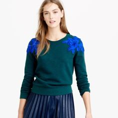 j crew green jumper with blue floral applique jumper, worn once, size small J. Crew Tops Sweatshirts & Hoodies