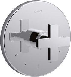 Kohler K-T73133-3 Composed Thermostatic Valve Trim with Cross Handle Polished Chrome Showers Digital Shower Controls